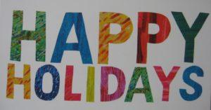 Message écrit en couleur sur une carte : Merci et bonnes vacances !